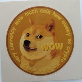 Dogecoin Sticker – 2″ Diameter – 1 Sticker
