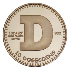 Physical Dogecoin – 2021 24kt Gold Plated Copper Edition